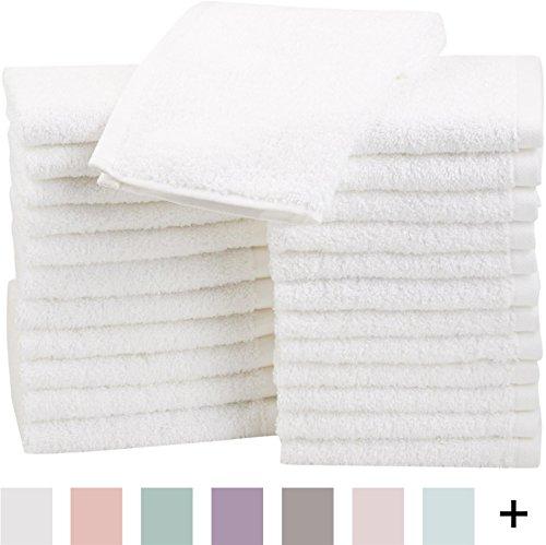 AmazonBasics Cotton Washcloths, 24 - Pack, White