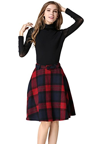 - Tanming Women's High Waisted Wool Check Print Plaid Aline Skirt (X-Large, Red)