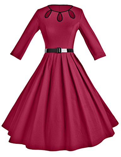 GownTown-Womens-1950s-Vintage-34-Sleeve-Pleated-Swing-Cocktail-Dress