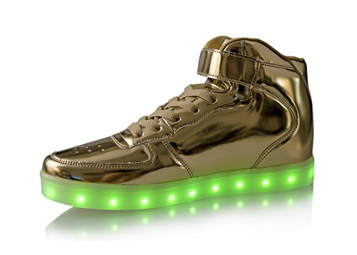 Dellukee USB Lade LED Beleuchtung Schuhe Fashion Flashing Sneaker H-golden