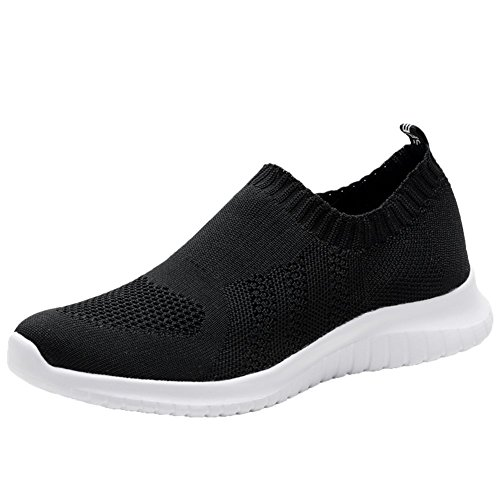 KONHILL Women's Lightweight Casual Walking Athletic Shoes Breathable Mesh Running Slip-On Sneakers, Black, 43