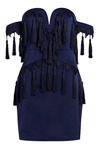 Boohoo Womens Premium Fliss Bardot Tassle Trim Dress In Ink Size 10 by Boohoo