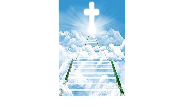 MMPTn Fondo 3x5FT Fondos Portratis Fondos Cielo Azul Nubes Blancas Escalera al Cielo Cruz Santa Luz Brillante Creencia Rezar Jesús Religión Fotografía Fondo Telón Fondo Foto Estudio Accesorios: Amazon.es: Electrónica