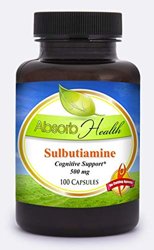 Absorb Health | Sulbutiamine Health Supplement | Memory and Cognitive Support | Nootropic | 500mg Capsules | 100 Count