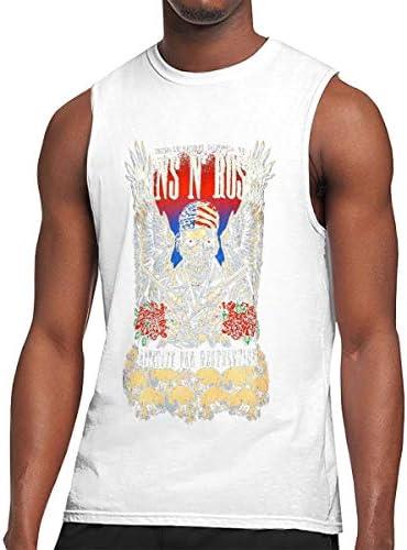 メンズノースリーブTシャツ トップス 吸汗速乾 スポーツ フィットネス ガンズ アンド ローゼズ Tシャツ 袖なし タンクトップ 丸首 スリーブレス 綿 レーニング M-3XL ロゴプリント