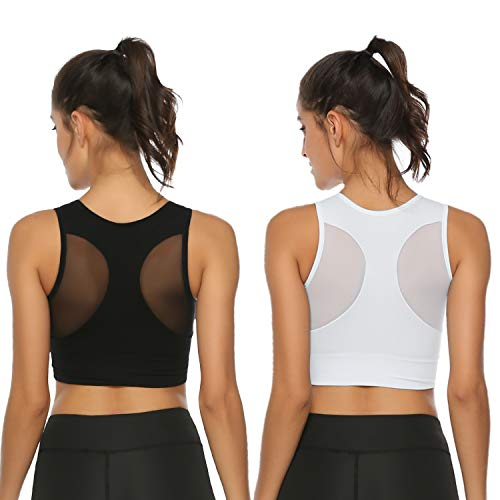 Hawiton 1/2 Pack Women's Sports Bras Low Impact High-Neck Longline Removable Padded for Yoga Running Dancing Gym ()
