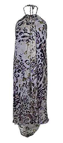 - Marc New York Women's Animal Print Belted Halter Crepe Hi-Lo Dress (6, Violet)