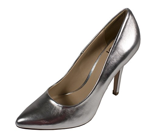 Classic Metallic Pumps (Lustacious Women's Classic Pointy-Toed Pumps , silver metallic leatherette, 6.5 M US)