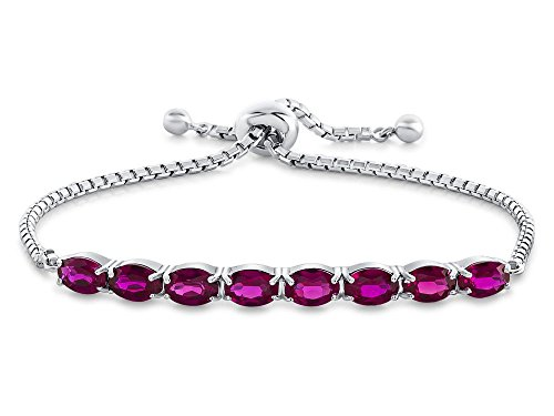 Finejewelers Sterling Silver Slider Chain Adjustable Bracelet with 8 Oval Stones