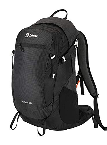 Ubon Internal Frame Hiking Backpack 30L Ventilated Travel Daypack Camping Outdoor Pack Black