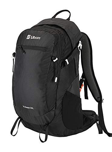 Ubon Internal Frame Hiking Backpack 30L Ventilated Travel Daypack Camping Outdoor Pack Black
