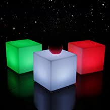 Popular For teens Outdoor Garden Plastic Cube Seat Chair Rechargeable LED Patio Furniture Waterproof 54