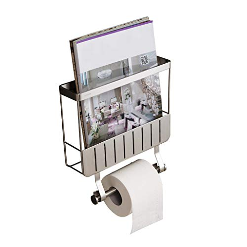 - MEI Toilet Paper Holder Wall Mount Toilet Paper Holder with Magazine Rack Stainless Steel Magazine Holder Bathroom Organizer Stand, Multi-Functional, Chrome Finish,10.7× 3.5× 10.5 inch