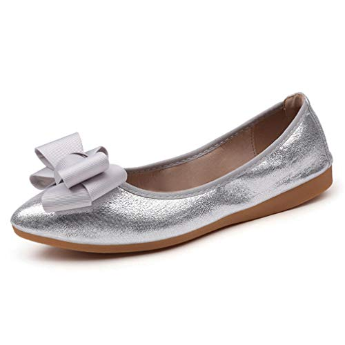 CYBLING Womens Foldable Soft Pointed Toe Ballet Flats Bowknot Metallic Dressy Comfort Slip on Shoes ()