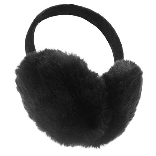 ChikaMika Winter Earmuffs for Men Women Kids Super Large Warm Ear muffs Foldable Black Ear Warmers