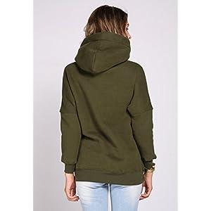 Women Loose Long Sleeve Fleece Hoodie Jumper Hooded Pullover Tops Blouse Tunic Sweater (M, Green)
