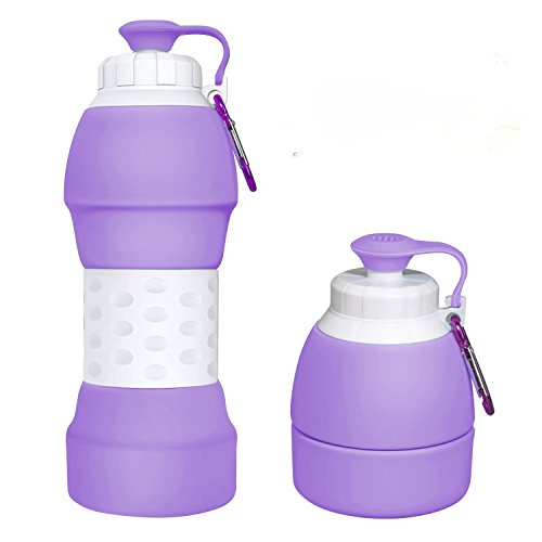 Ecosylife Collapsible Silicone Water Bottle - Portable Light Weight Anti Leakage BPA Free Medical Food Grade Sports Traveling Water Bottle(Purple)