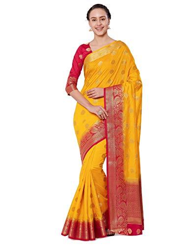 Viva N Diva Sarees for Women's Banarasi Kanchivaram Silk Yellow Saree with Un-Stiched Blouse Piece,Free Size