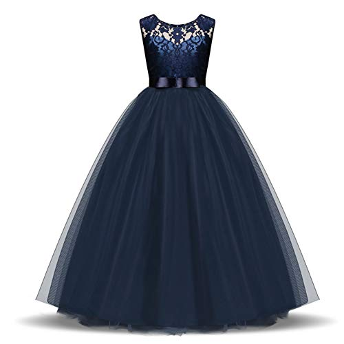Princes Dresses Lace Tulle Round Neck Sleeveless Satin Bow Sash Flower Girl Dress A-Line Vintage Party Pageant Prom Dresses Ball Gown for Girls 11-12 Years Old Navy Blue