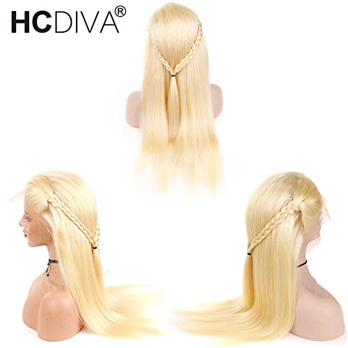 #613 Blonde Wigs Silky Straight Brazilian Remy Human Hair lace front Wig 613 Transparent Lace Front Human Hair 130% Density (12 inch) from HCDIVA