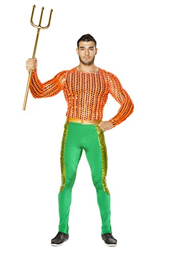 [2 Piece Merman Poseidon Long Sleeve Shirt & Pants Party Costume] (Poseidon Greek God Costume)