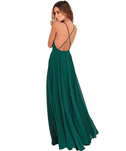Blau Rueckenfrei A Chiffon Langes Damen Brautjungfernkleider Abendkleid Halter Elegantes Grün Kleid Linie UqHwfwF6PS