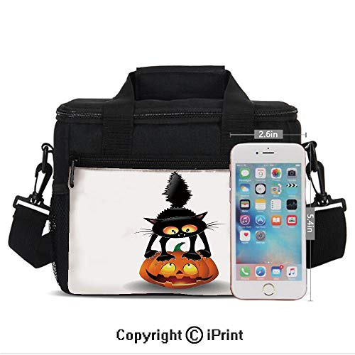 (Insulated Lunch Bags For School With Bottle Holder Black Cat on Pumpkin Spooky Cartoon Characters Halloween Humor Art Kids Lunch Box Snacks Tote Lunch Containers 3D Print Orange)