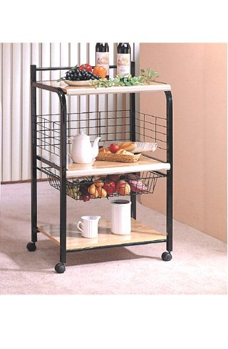 Black Microwave Cart with Two Shelves & Wheels