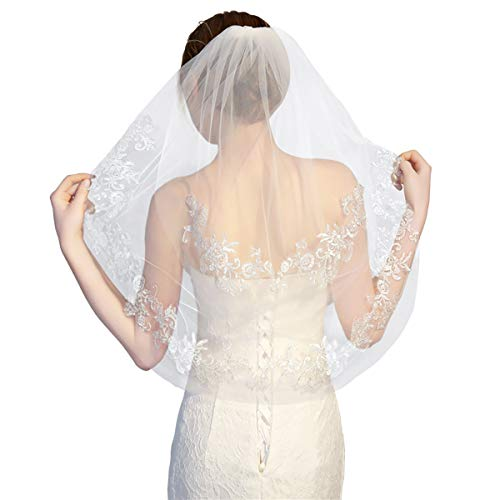 Bride Veil White Ivory Short Wedding Veil Simple Tulle Applique 2 Tier with Comb 75cm/30