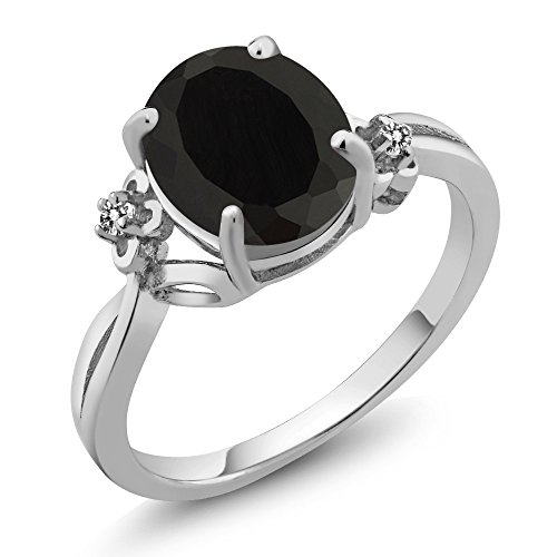 2.53 Ct Oval Black Onyx White Diamond 14K White Gold Ring (Ring Size 5) by Gem Stone King