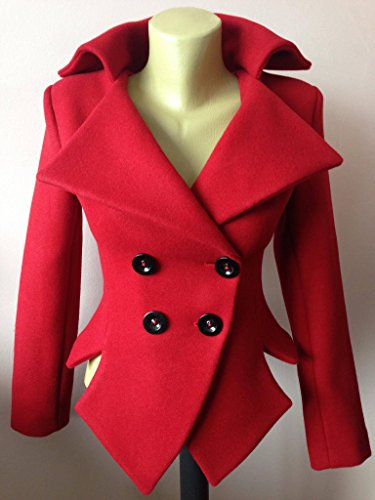 Womens slim fit blazer, Asymmetrical jacket,Red blazer, Tailored wool jacket by StudioMariya