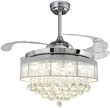 42 Inches Crystal Drum Shade Chandelier Clear Retractable Invisible Blades LED Ceiling Fan Remote Control 4000K Cool White Not Dimmable Chrome Drum Shade White