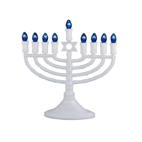 White Electric Menorah - Rite -Lite Judaica Deluxe White Electric Menorah with Bulbs