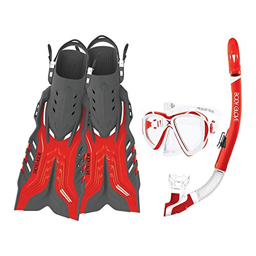 Body Glove Passage Mask Fin and Snorkel Equipment Gear Set w/GoPro Mount, L/XL (6 Pack) ()