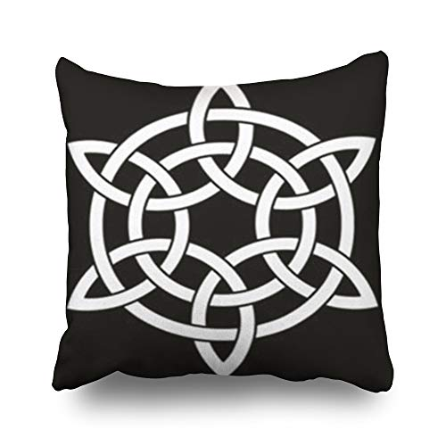 - Hitime Throw Pillow Covers Point Celtic Knot Interlaced Two Signs Symbols Knots Design Square Size 16 x 16 Inches Custom Cushion Pillowslip Decorative Home Decor Pillow Case