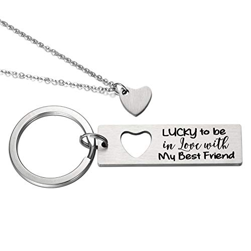(My Wife or Husband Birthday Boyfriend and Girlfriend Keychains and Necklace - Lucky To Be In Love with My Best Friend Keychain, Dainty Heart)