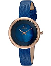 Womens Quartz Stainless Steel and Leather Dress Watch, Color Blue (Model: V146LXVLRA)