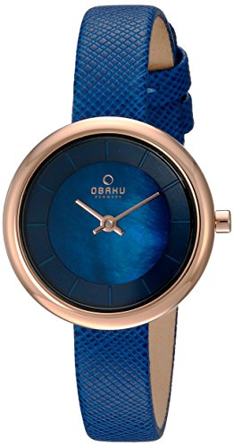 Obaku Women's Quartz Stainless Steel and Leather Dress Watch, Color:Blue (Model: V146LXVLRA)