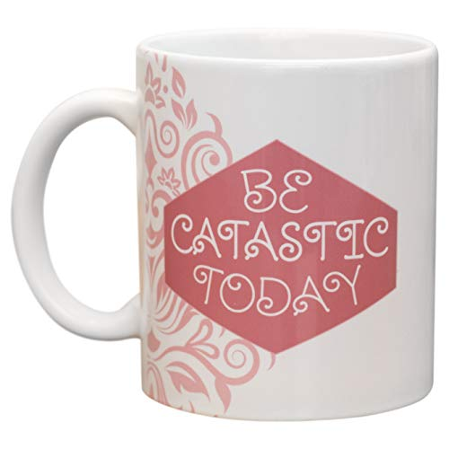 Be Catastic Today Floral Pink Swirl 11 Oz Ceramic Stoneware Coffee Mug