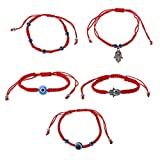 Simdoc 5Pcs Lucky Hamsa Red String Line Kabbalah Bracelets Bracelet Bangle Evil Eye Red String Bracelet Macrame Braided With Blue Lucky Eye Jewelry For Success And Protection Lucky