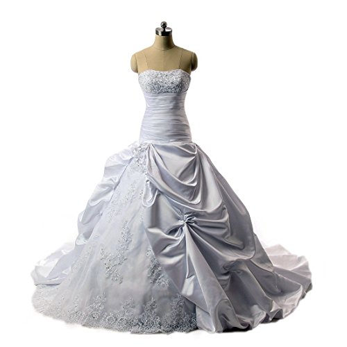 Timeweddingdresses Women's Ball Gown Strapless Princess Wedding Dress 4 White