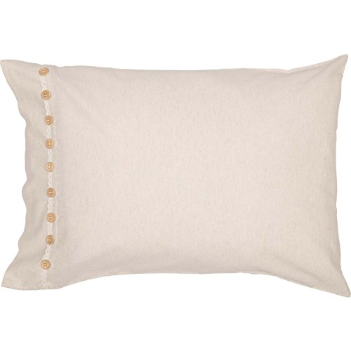 Clara's Cottage Natural Pillow Cases, Set/2, 21x30, Vintage Farmhouse Style, Lace & Buttons, Cream by Piper Classics (Image #2)