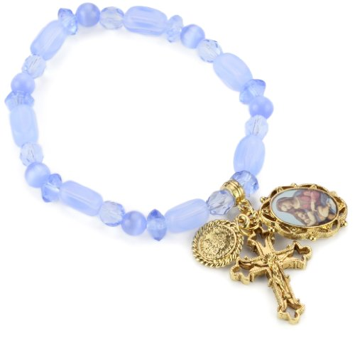 UPC 011996090579, The Vatican Library Collection Blue Beaded Gold-Tone Charm Bracelet
