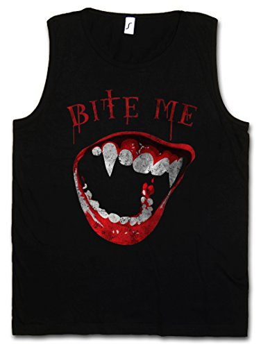 BITE ME HERREN TANK TOP MUSCLE SHIRT - Vampir Blut True Gebiss Zähne Biss Bite Teeth Jaws Blood Dracula Vampire Blood Größen S – 5XL