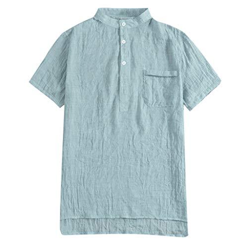 Fastbot Men Shirts Short Sleeve Polo Shirt Button Down Slim fit Baggy Cotton Linen SOID Color Short Retro T Tops Blouse Blue