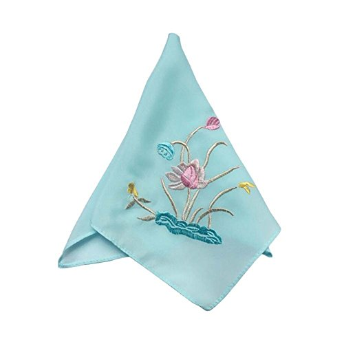 Chinese Traditional Charming Embroidery Silk Handkerchiefs/ Lotus