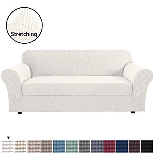 H.VERSAILTEX Ivory White Color 2-Piece Spandex Stretch Sofa Slipcover for 4 Seater Sofa, Machine Washable Furniture Protector Sofa Covers for Living Room, Sofa X-Large Size