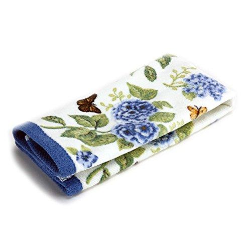 (Lenox Printed Fingertip Towel, Blue Floral Garden)
