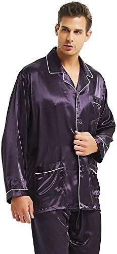 パジャマ CHJMJP メンズシルクサテンパジャマセットパジャマパジャマセットPJSパジャマ部屋着メンズパジャマセット (Color : パープル, Size : XXL)