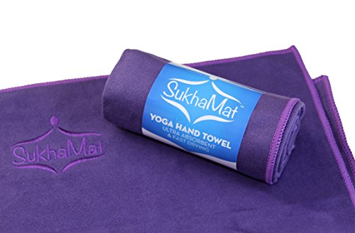 SukhaMat Yoga Hand & Face Towel - The Best Hand & Face Towel for Yoga or Exercise, Ultra Absorbent, Fast Drying, Durable Microfiber Construction - Practice In Comfort! (Purple)